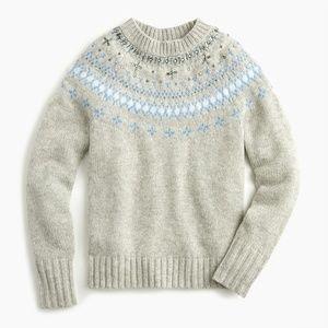 NWT J. Crew Jewel Embellished Fair Isle Sweater